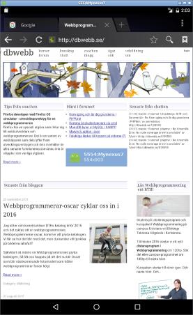 Webbläsaren kopplad till dbwebb.se.